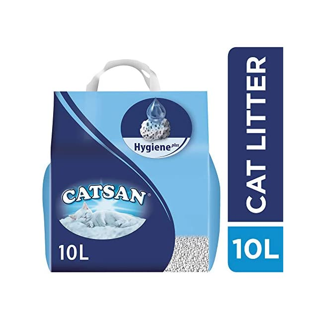 CATSAN Hygiene Plus - Litière Minérale pour Chat, 4 Sacs de 10L