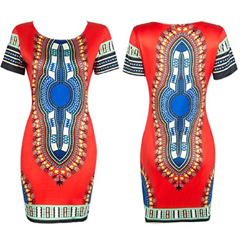 Malloom Les Femmes Sexy Robe Traditionnelle à Manches Courtes African Print Dashiki Bodycon Rouge