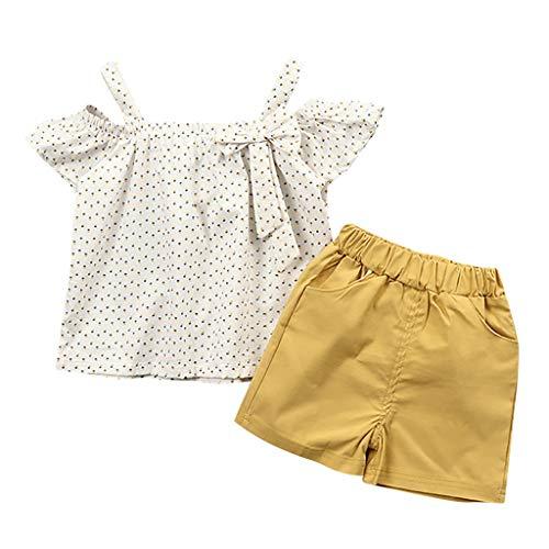 Mitlfuny Kleidung Set Kleid Damen Sommer Elegant Baby Mädchen Outfits & Set,Kleinkind Baby Mädchen Schulterfrei Dot Print Bow Tops + Feste Shorts Outfits Sets (Kleinkind Owl Shirt)