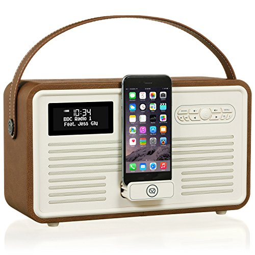 VQ Retro Mk II DAB/DAB+ Digital- und FM-Radio mit Bluetooth, Lightning Dock und Weckfunktion - Braun Fm-transmitter Charge Dock
