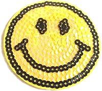 """Toppe Toppa con paillettes termoadesive Patch termoadesiva Bambini Applique applicazioni con paillettes """" Smiley con paillettes 9 cm """""""