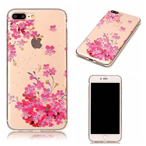Apple iPhone 7 Plus 5.5 Hülle, Voguecase Schutzhülle / Case / Cover / Hülle / TPU Gel Skin (Weiße hohle 01) + Gratis Universal Eingabestift Kleine rote Blume