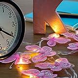 2er Set – Schöne, moderne und rosa batteriebetriebene LED Lichterketten mit Schmetterlingen aus Fauxseide