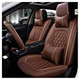 ADHW Auto Sitzbezüge Set,Universal Leder Auto-Sitzbezug Komplettset 5-Sitze, 9 Stück Ganzjährige Benutzung (Farbe : Brown)