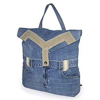 Denim Tagesrucksack mit Überschlag handgemacht Damen Schultertasche Jeansstoff blau beige Rucksack mit Laptopfach Geschenk für Mama Leichte Frauen Mädchen Jeanstasche