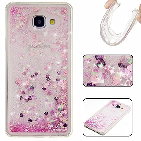 KSHOP Samsung Galaxy A3 2016 Silicone Case 3D Creative Luxury Bling Glitter Liquid Case TPU Silicone Heart Moving Soft TPU Bumper Back Hybrid Shockproof Protection Case Cover scratch shock - Pink
