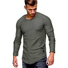 Yvelands Mens O-Cuello de Color sólido Plegable de Manga Larga Camiseta Casual Sudaderas Camiseta