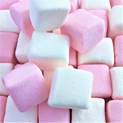 100% Natürlich Gefärbte Marshmallows Rosa Weiße Würfel (1 Kilogramm) Flauschige und Leckere Vanille Schaumzucker von Hoosier Hill Farm