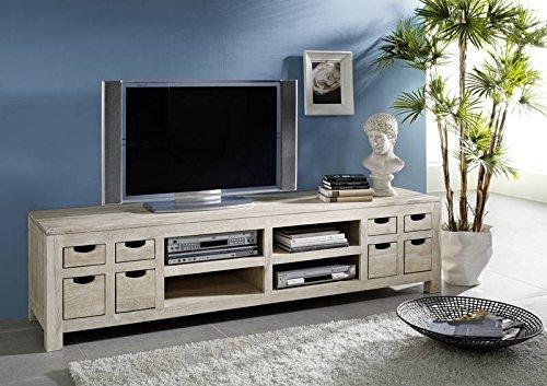 Meuble TV - Bois massif d'acacia blanchi - NATURE WHITE #42