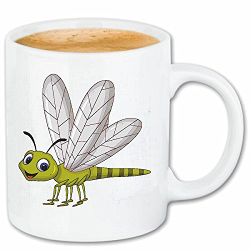 VTYOSQ Coffee Mug Tea Cup Small Sweet with Dragonfly Outstretched Wings Large Dragonfly Dragonfly Small Garden Pond Wetland BIOTOP Ceramic 330 ml in White