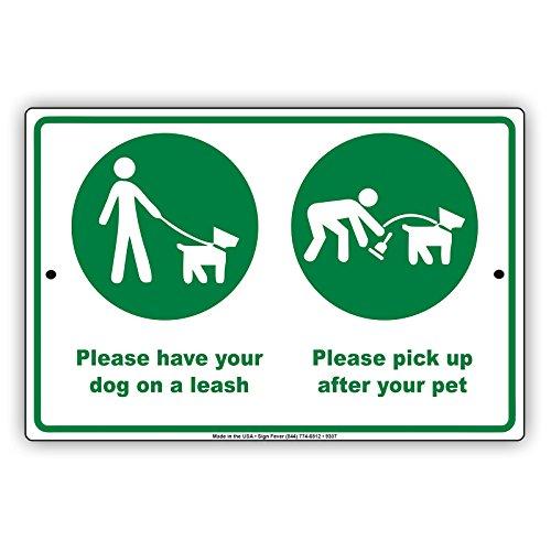 Veuillez avoir votre chien sur une laisse et Reprendre après votre animal domestique avec avis de carte graphique en aluminium Note plaque de plaque en métal 12\