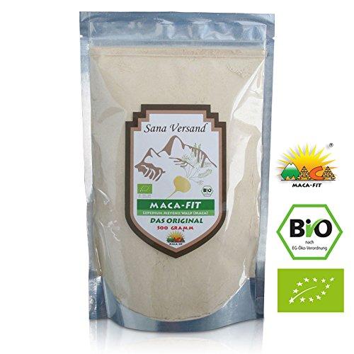 100% BIO Maca Pulver (500g) Original aus Peru. Reines Maca Pulver enthält Vitamine, Aminosäuren und Proteine. Ohne Zusatzstoffe dadurch vegan, organic, glutenfrei, also auch für Allergiker geeignet. Superfood aus Peru.