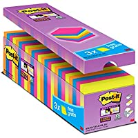 3M Post-It 654-SS-VP24COL-EU - Pack de 24 x 90 notas adhesivas /Bloc de notas Post it 76 x 76 mm – colores: neón naranja, verde, fucsia, azul