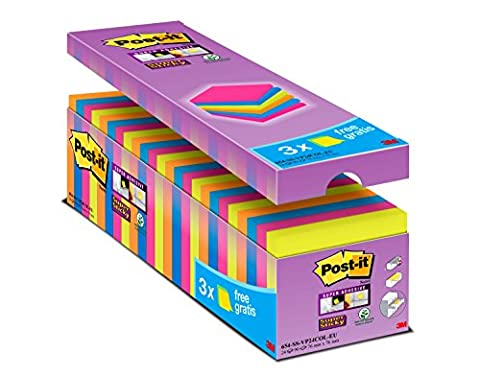 Post it Notes 76 x 76 mm Super Sticky Notes Value Pack, Assorted Colours, Pack of 24 (90 Sheets Per