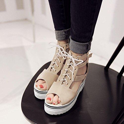 Mee Shoes Damen bequem Peep toe Keilabsatz Sandalen Beige ZC69Q