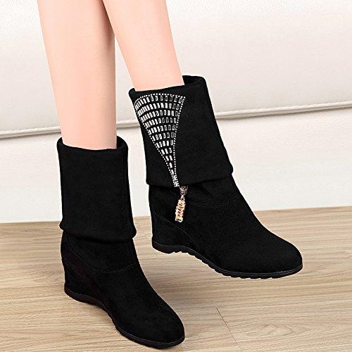 e Schuhe Hang mit weiblichen Schuhe Herbst Winter Reißverschluss Stiefel Damen und Stiefel flache Schuhe in der Wohnung und Hänge mit Damen Schuhe schwarz 35 (Clark Schuhe Weiblich)