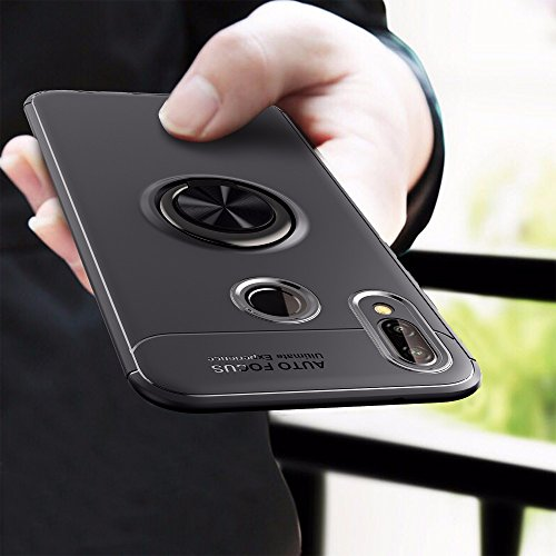 Amozo 360 Degree Protection Sleek Rubberized with Beautiful Ring Stand Back Cover for Honor P20 Lite - Black