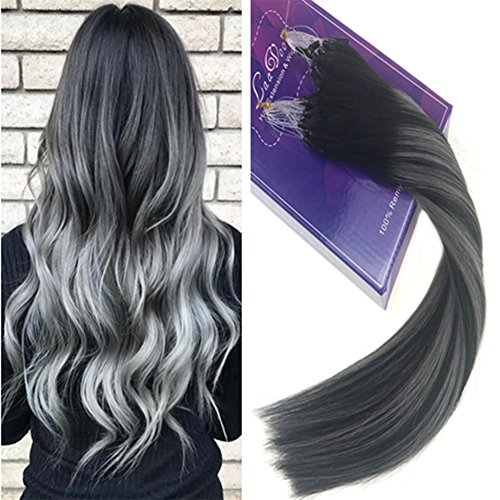 LaaVoo 22zoll/55cm Microring Extensions Echthaar 1g Black und Silver Hair Extensions Rings Silikon 100 Remy Microring Ringe fur Extension Total 50 Gramm