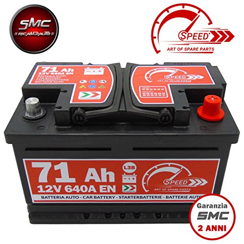 BATTERIA AUTO SPEED by SMC cod L3B71 12V 71Ah 640A CON POLO POSITIVO A DESTRA