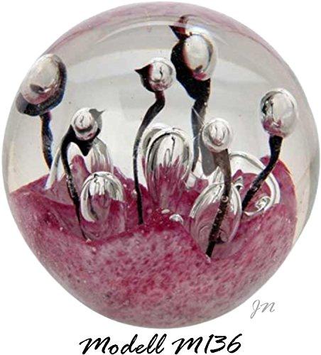 Traumkugel- Briefbeschwerer medium: Motiv Weiß - lila Skulptur mit großen Blasen - Handarbeit