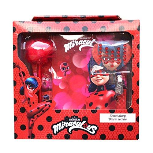 Miraculous Wundersame Ladybug Lady Bug und Cat Noir Tagebuch Geheimnis Agenda mit VORHÄNGESCHLOSS + Pen + Aufkleber + Rhinestones