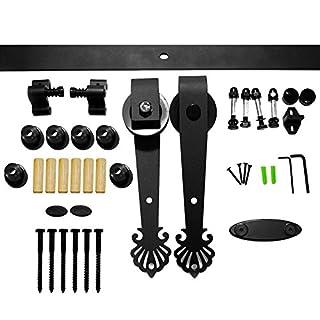 LWZH 6.6FT Sliding Barn Door Hardware Kit for Single Door(Black Crown Shaped Hangers)