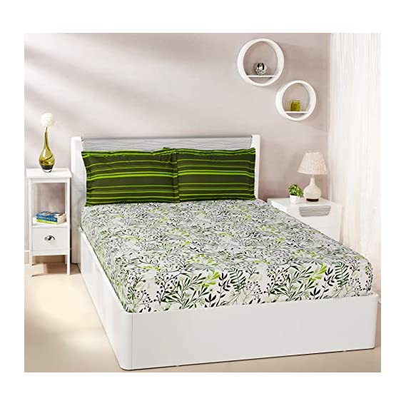 Amazon Brand - Solimo Fresh Ferns 144 TC 100% Cotton Double Bedsheet with 2 Pillow Covers