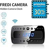 Spy Camera, FREDI Mini Hidden Camera HD 1080P Wireless Wifi Home Surveillance Cameras Alarm Clock/Night Vision/Motion Detection/Video Recorder