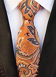 Men's Necktie Plaid Tie Jacquard Tie Classic Stripe Flower Necktie & Pocket Square Cuffl