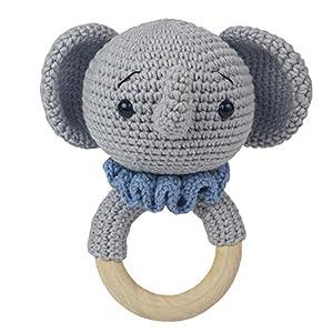Häkel-Elefant – Amigurumi Greifling – Rassel – Ring aus Holz – Babyrassel – Geschenk für Babys – Jungen – blau – Babyspielzeug