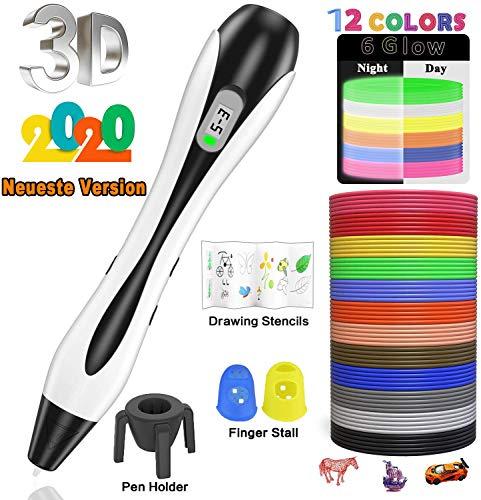 Penna 3d lovebay 3d professionale pen set penna di stampa 3d con schermo lcd + 12multicolore filamento pla φ1,75mm, miglior regalo-penna 3d per bambini e adulti 【 2019ultima versione 】