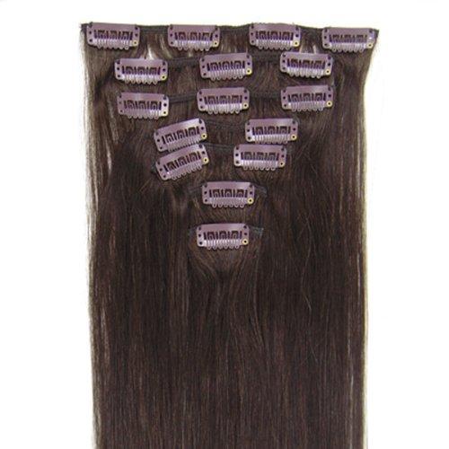 Beauty Online 38,1–61 cm Indian Remy Cheveux Clip de cheveux 7 130 g/set droite soyeuse – Couleur : Marron foncé 2 #, Taille : 66 cm
