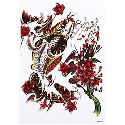 HJLWST® 8pcs autoadesivo provvisorio del tatuaggio fai da te per le donne gli uomini fiore pesce immagine design della scocca impermeabile del