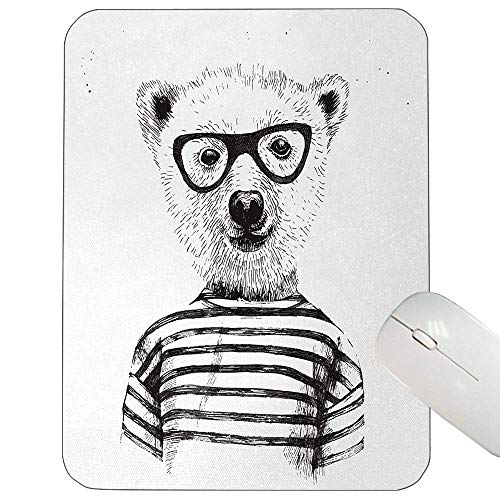 Tierische Unterstützung Mauspad Verkleidet Hipster Nerd intelligente männliche Bär Brille Spaß Charakter Tier Kunstdruck Gaming Mauspad schwarz weiß in,Gummimatte 11,8