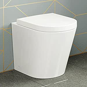 Modern Back To Wall Toilet Pan & Seat Luxury White Ceramic Bathroom WC CT632BTW