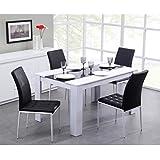 DAMIA Table de séjour 140 x 90cm noir/blanc