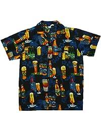 King Kameha   Funky Chemise Hawaïenne   Hommes   XS - 6XL   Manche-Courte   Poche-Avant   Hawaiian-Imprimer   Bière Fleurs Party   noir