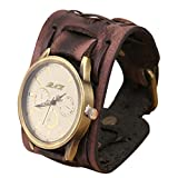 HARRYSTORE Cool Retro Watches Punk Rock Brown Big Wide Leather Bracelet Cuff Wristwatch