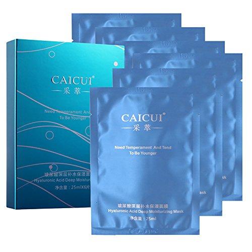Etosell Femmes 6Pcs Hydratante Peau Blanchissant Le Visage Soie Hydratant L'acide Hyaluronique Masque