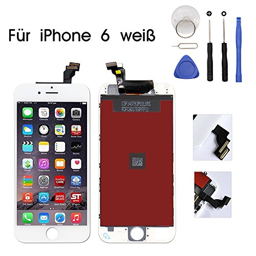 Weiß Touch Screen (iPhone 6 Display Touchscreen Glas Digitizer Ersatz Reparatur Frei Tools Set (Weiß))