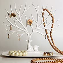 Plastic Jewellery Display/Stand/Holder- Sika Deer Tree Jewellery Holder Jewellery Organiser for Rings Necklace Birthday Gifts Xmas Jewellery Stand Rack Storage (S, White)