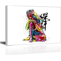 PIY Buda Lienzo artístico de pared, cuadros en lienzo Zen para dormitorio (2,54cm de grosor, resistente al agua, listo para colgar)