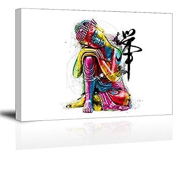 """Piy Buda lienzo pared arte, Zen cuadros en lienzo para dormitorio (1""""de grosor, resistente al agua, listo para colgar) 3"""
