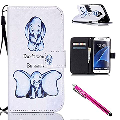 Galaxy S7 edge Case, Firefish [Kickstand] PU Leather Flip Purse Case Slim Bumper Cover with Lanyard Magnetic Skin for Samsung Galaxy S7 edge + including One