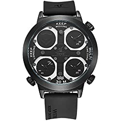 Alienwork Sport Quartz Watch Multi Time Zones Wristwatch XXL Oversized Polyurethane black black OS.UV1503-1