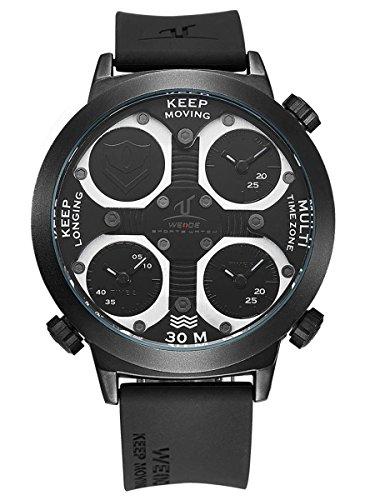 Alienwork Sport Unisex Armbanduhr Herren Damen Uhr Kautschuk Armband schwarz Analog Quarz Herrenuhr Damenuhr Wasserdicht Outdoor XXL Oversized