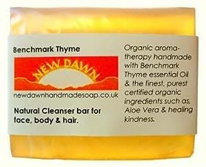 Handmade Natural Benchmark Thyme Soap Bar - Range No.10 - Anti Viral / Anti MRSA, Eczema / Psoriasis / Itchy Skin / Acne / Oily Skin & Hair / Hidradenitis Suppurativa / Athletes Foot Relief, Anti Dandruff, Cellulite Line Reducing - 75g