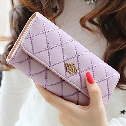 Portamonete Donna, Kfnire raccoglitore di cuoio lungo della portafoglio della parte superiore della frizione elegante (viola) viola