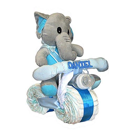 Tarta pañales Dodot - Moto Elefanta azul - Mil Cestas