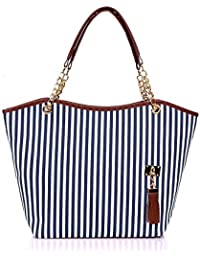 Unique Bargains Women's Faux Leather-Trimmed Tassels Decor Vertical Stripes Tote Blue White
